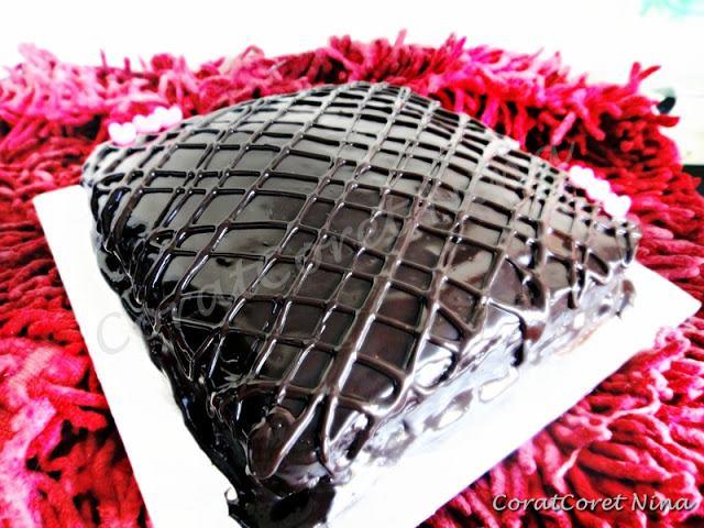 Resipi Chocolate Moist Cake Topping Ganache sedap mudah