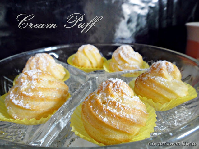 Resepi Cream Puff with custard cream senang sukatan cawan