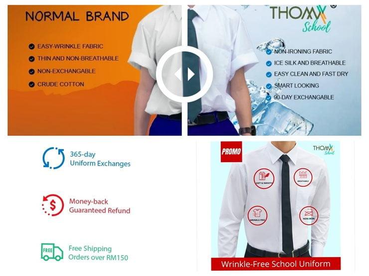 Baju Sekolah yang Bagus kain licin putih anti kedut